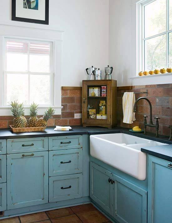 brick back-splash, rustic painted cabinets, apron sink, windows, dishwasher faced to match?