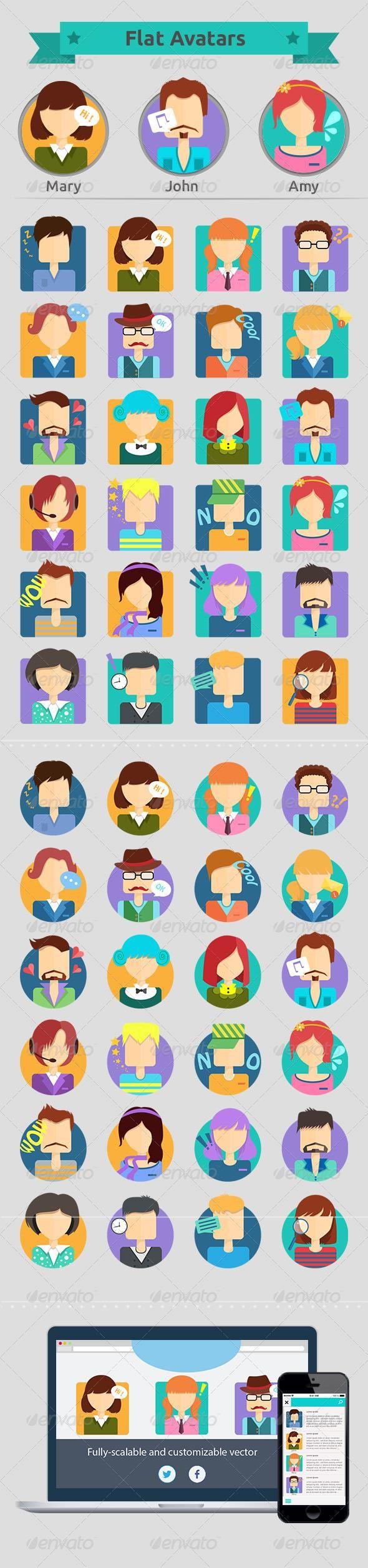Set of Flat Avatars #characters