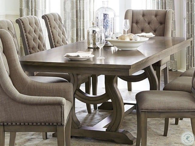 Vermillion Gray Cashmere Extendable Dining Room Set Chic Dining Room Farmhouse Chic Dining Room Dining Room Cozy
