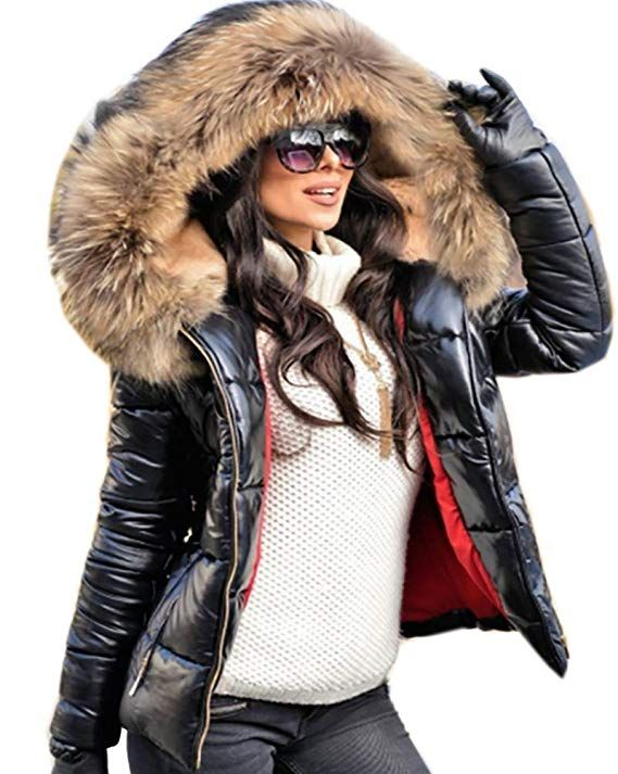 23a506a9d31 Roiii Women Winter Warm Thick Brown Shade Faux Fur Coat Outdoor Hood Parka  Long Jacket