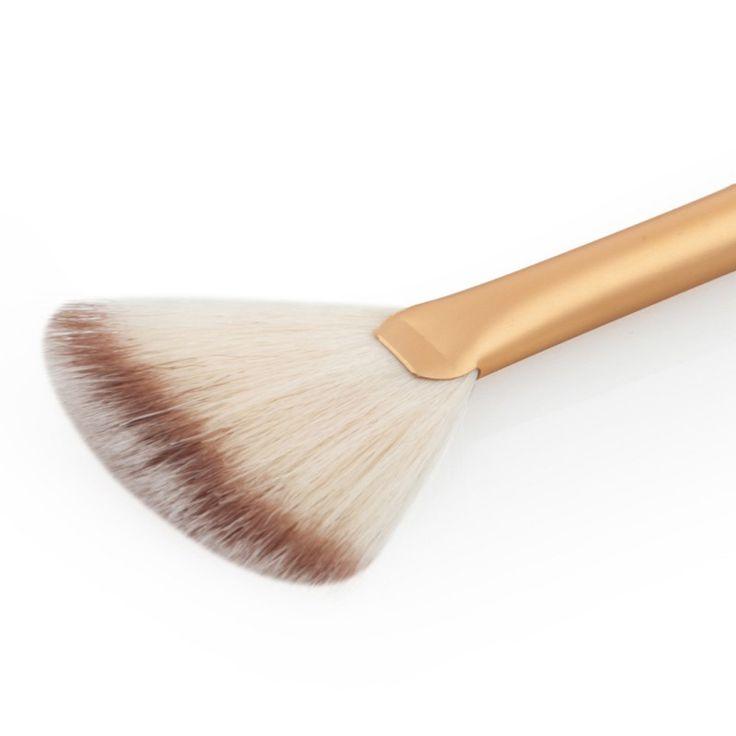 Promozione 1 Pz trucco pennello A Forma di Ventaglio Nero Manico In Legno Capelli Sintetici Spazzole Cosmetiche di Trucco Attrezzo di Bellezza