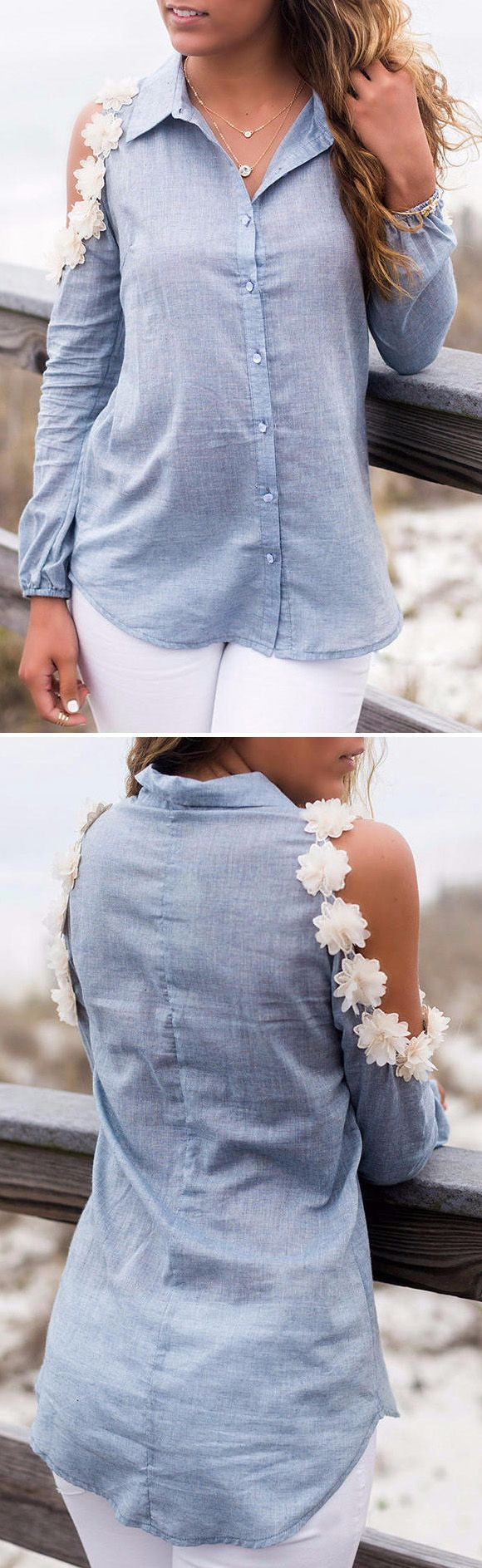The Charming Flower Decoration Button Down Blouse with a pair of high heels and jeans from OASAP would create a stylish outfit.