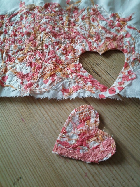 Use Every Wee Bit of fabric. Pile on foundation fabric, top with water soluble fabric, stitch around edge to hold in, then meander stitch. Soak in water to remove water soluble fabric.
