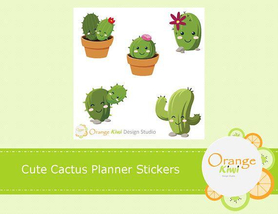 Cactus Planner Stickers, Cactus Stickers, Cute Kawaii Stickers, Kawaii Planner Stickers, Sample Stickers,