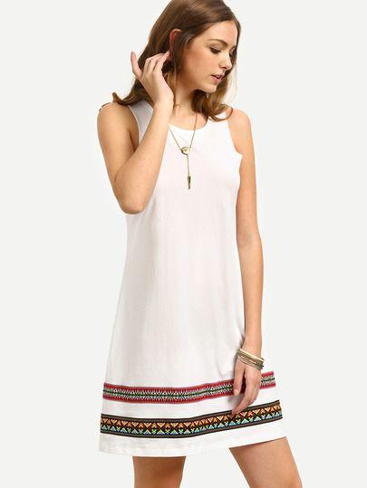White Vintage-faced Sleeveless Shift Dress -SheIn(Sheinside)