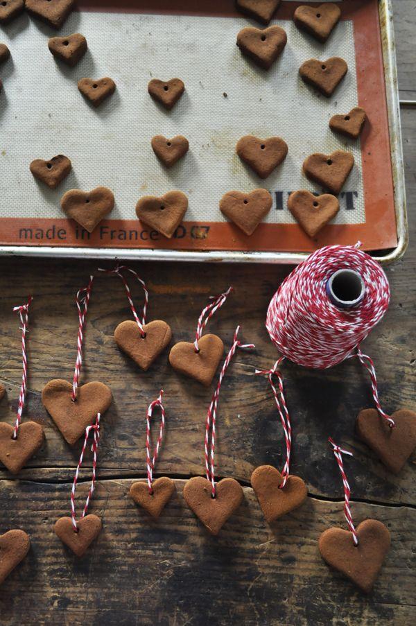 Cinnamon Applesauce Heart Ornaments