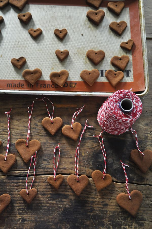 Cinnamon Applesauce Heart Ornaments - smell amazing on your tree or as a gift tie-on!
