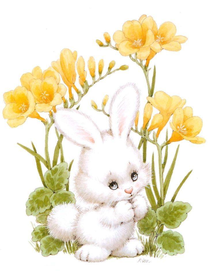 Картинки с зайчиками и цветочками