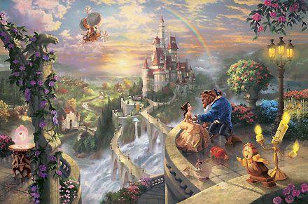 Beauty and the Beast - Beauty and the Beast Falling in Love - Thomas Kinkade - World-Wide-Art.com #Disney #Kinkade
