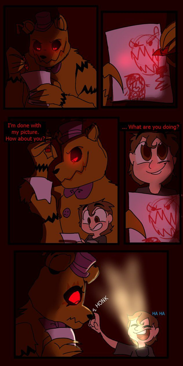 [fav.me/dana1e7]< Previous | Next >[ fav.me/dap56oa] Fredbear saves the child from the Nightmares, but are his intentions truly good? If they are, he's not very good at showing it...