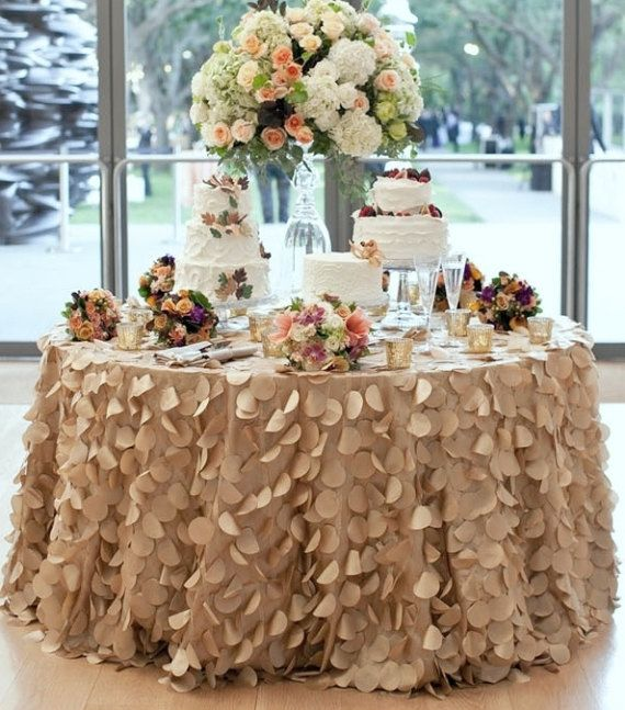 Champagne Round Petal Ruffle Tablecloth Dessert Table Cake Wedding Tablecloth