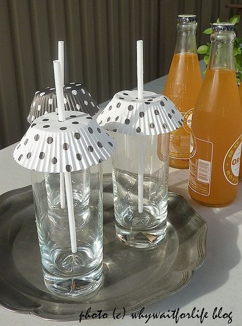 cupcake holders to keep unwanted things out of your glass
