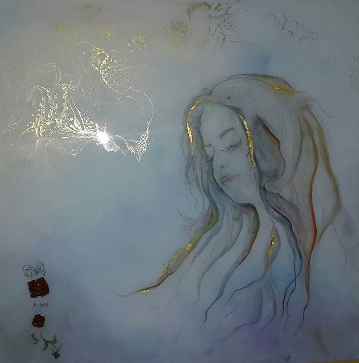 Fan art door Jaap Roseboom getiteld 'Alea'. Aquarel op gesso met bladgoud epoxy, tweede laag epoxy met goudpoeder.