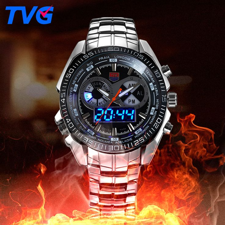 TVG Male Sports Watch Men Full stainless steel waterproof Quartz-watch Digital Led Analog Dual display Men's Wrist Watches #men, #hats, #watches, #belts, #fashion, #style