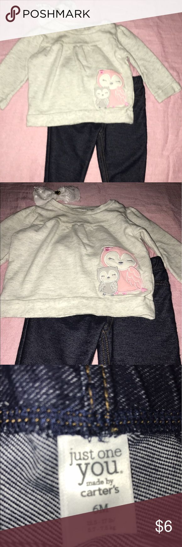 Owl Sweater & JEGGINGS 6M Carter's Pink Gray This outfit is in good condition and adorable! Headband not included. All our clothes come from a smoke free home and contain no stains, no rips, and no tears! Bundle for savings! 💜💜💜 Carter's Matching Sets