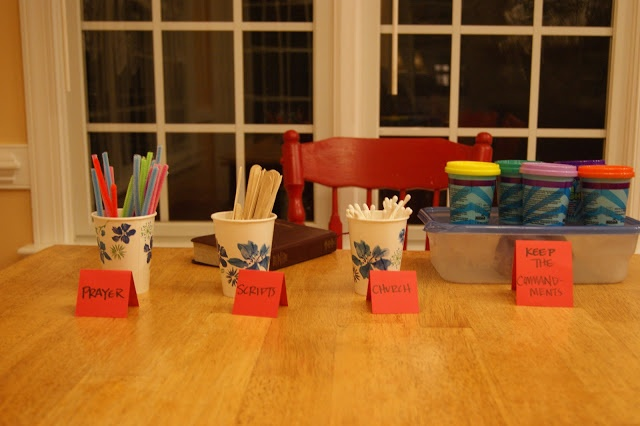 """LDS Family Home Evening: Defend Your Fortress. Build a fortress using playdough and """"prayer,"""" """"scriptures,"""" etc."""