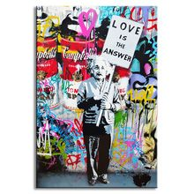 """1 STKS Banksy Art """"liefde Is Het Antwoord"""" Wall Art Grote Kleurrijke Graffiti Straat Kunstwerk Een Man Holding een Teken Canvas Print Schilderij(China (Mainland))"""