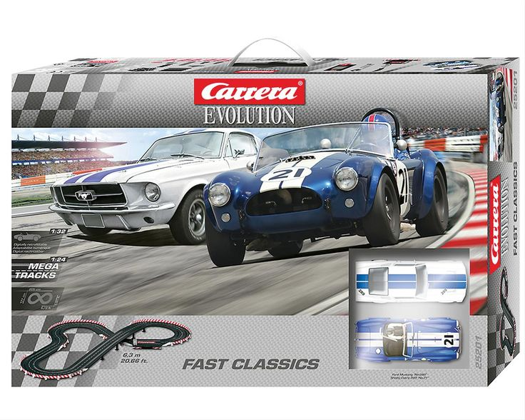 This Carrera Evolution Fast Classics slot car set brings the excitement of  real road racing into