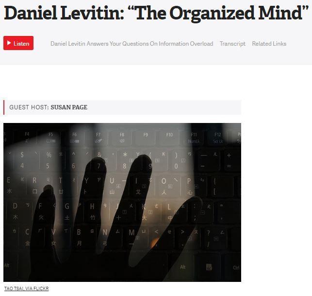 "Daniel Levitin: ""The Organized Mind"" [The Diane Rehm Show audio 48:26]"