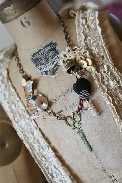 Sewing collage necklace #sewing