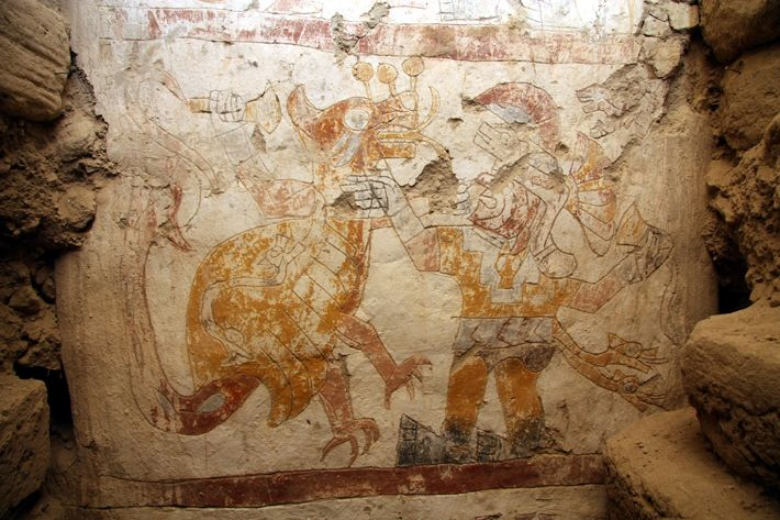 The Moche hero Ai-Apaec is shown holding the typical Moche tumi knife in the Temple of the Painted Pillars doing fierce battle with the so-called Strombus monster.