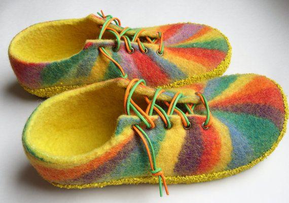 "Women felt slippers made of natural wool ""Rainbow"" Handmade."