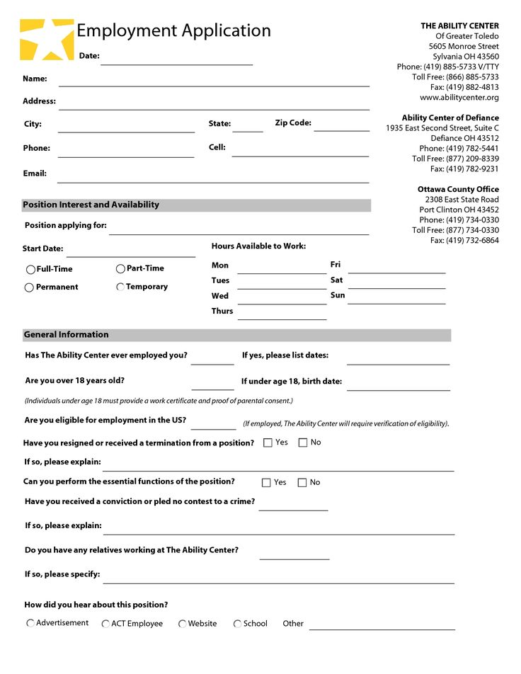 The 25+ best Printable job applications ideas on Pinterest Job - sample employment application form