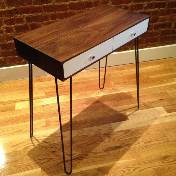Mid-century modern wood desk with drawers and hairpin legs ...