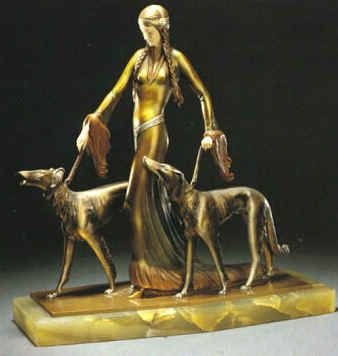 """The Aristocrats, ca. 1920s, Professor Otto Poertzel - """"This is one of the best examples of Art Deco sculpture and conjures up the archetypal woman of the period, tall, slender and extremely chic."""""""