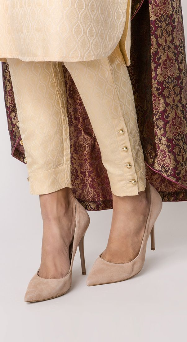 Ivory Brocade Gold Button Trousers