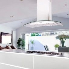 70cm Island Cooker Hood Curved Glass -White