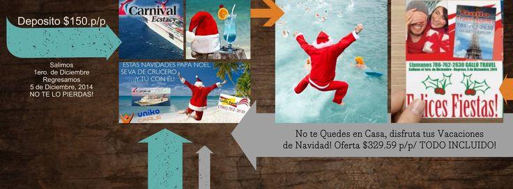 """AMIGOS TODOS, LOS INVITO A QUE VENGAN CONMIGO AL CRUCERO DE NAVIDAD, gran Oferta de Navidad, hasta el 15 de NOVIEMBRE! ORGANIZADORES NAVIDAD CRUCERO CARNAVAL ECTASY:  - CARMEN CARLE, cell.1-305-600-6999  -GALLO TRAVEL, ORESTES GONZALEZ """" Tus destinos Favoritos a los Mejores Precios"""" Tel. (786) 762-2630-Reservaciones,"""