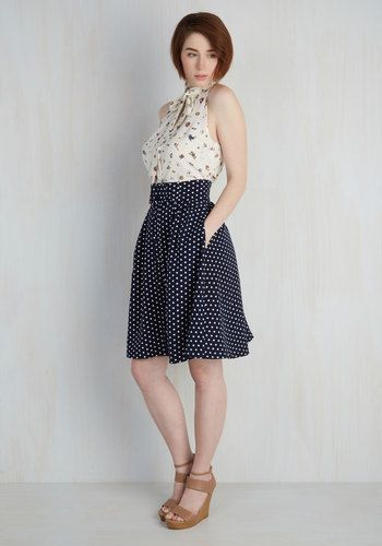 Intern of Fate Skirt in Navy Dots   Mod Retro Vintage Skirts   ModCloth.com