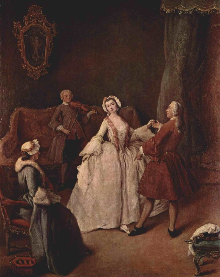 The Dancing Lesson (c. 1741). Pietro Longhi (Venetian, Rococo, 1712-1793). Oil on canvas. Gallerie dell'Accademia, Venice.  Longhi was extremely popular, painting bright scenes with a light social comedy. Many show Venetians at play, and chronicle the daily activities of a typical Venetian citizen, such as going to the barber's, duck hunting, or, in this case, having a dance lesson.