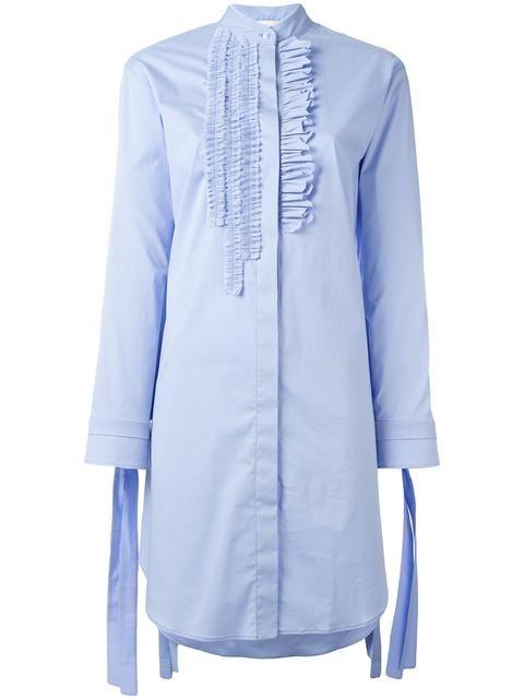 CEDRIC CHARLIER Ruffled Detail Shirt Dress. #cedriccharlier #cloth #dress