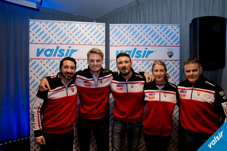 The Ducati Superbike Team with Davide Giugliano and Chaz Davies Ducati Superbike riders in the middle, at the Valsir dinner in Milan  Valsir is one of the official Ducati Corse Team Sponsors