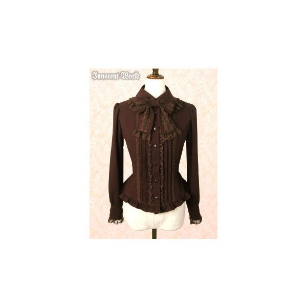 Round Collar Original Amundsen Blouse ❤ liked on Polyvore featuring tops, blouses, lolita, innocent world, shirts, shirt top, round collar blouse, brown shirts, round collar shirt and brown blouse