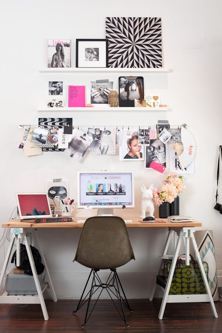 """How To DIY A Tiny Space — For Big Results #refinery29 http://www.refinery29.com/small-san-francisco-apartment#slide15 Get Personal In The Home Office """"I used MADESQUARE, a service that lets you print Instagram images, to make my workspace more personal. I love the service because it has so many different ways to apply the photos, like the metal print which is a zoomed in Insta from a mural at Barrow Salon. Also, the photo clings, which are shots from R29 shoots. The set up was easy, too…"""