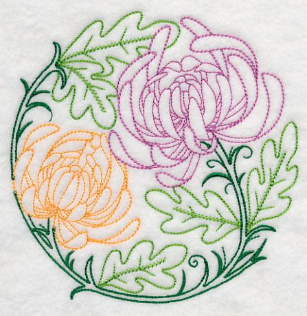 Colorful Chrysanthemums - on Embroidery Library inc