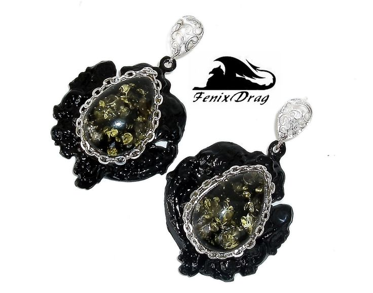 """Black earrings """"Mezze"""" from the collection """"Black Vintage"""" in Vintage, Steampunk, Gothic styles"""