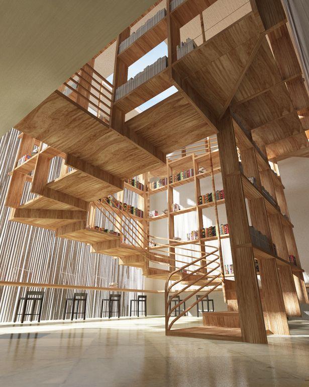 Library at One Resort by Jianxiong Liu | jebiga | #wood #wooden #architecture #stairs #design #jebiga
