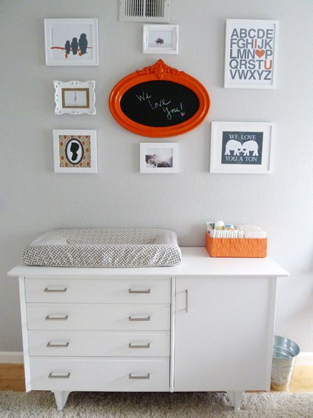 Love the DIY framed chalkboard in the center of this #gallerywall!: Chalkboards, Bebe, Baby Decor, Change Table, Chalk Board, Gallerywall, Babe