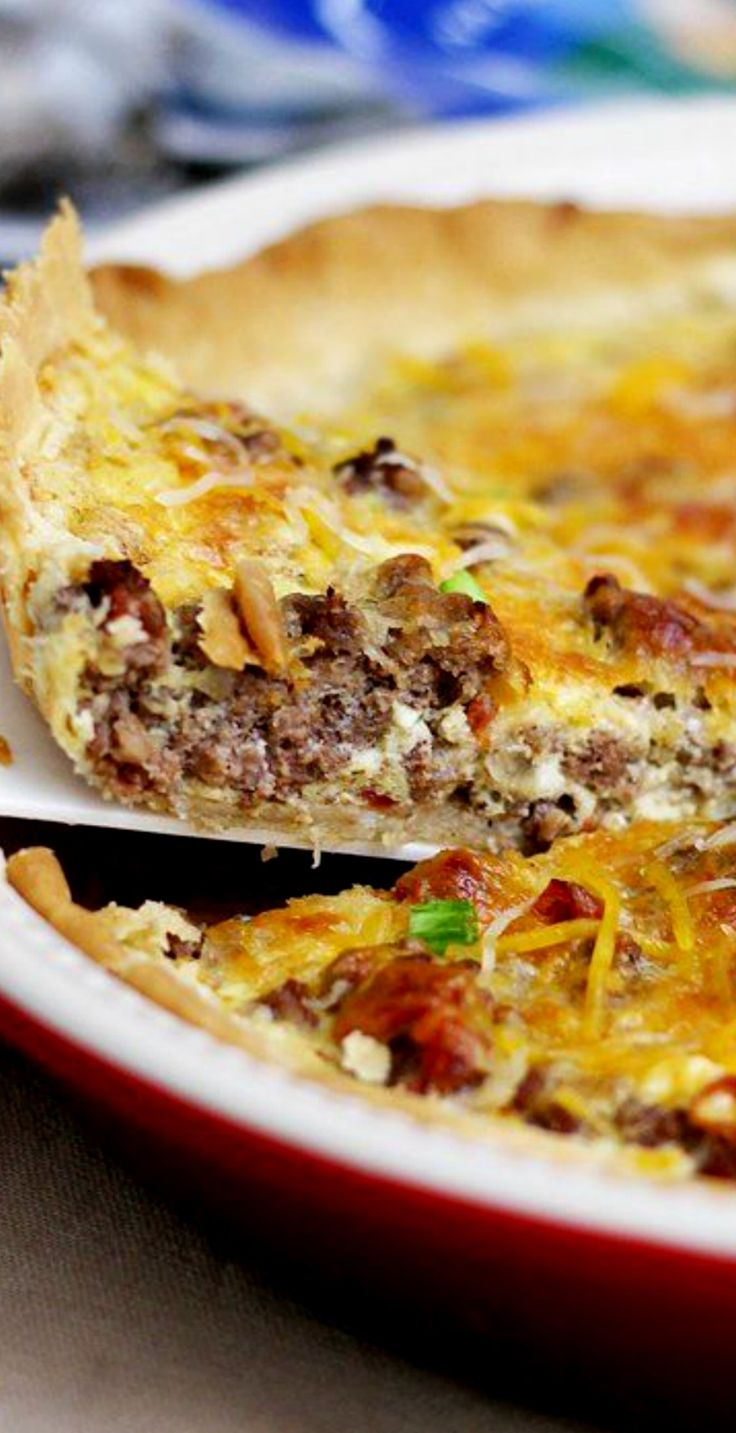 Tex-Mex Cheesy Beef Quiche ~ a great weeknight meal, filled with the delicious flavors of the Southwest