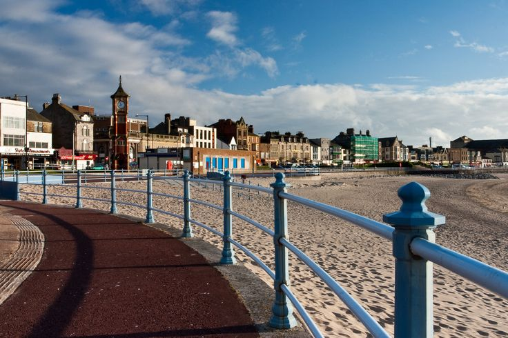 A look at Morecambe and its sandy beach from the promenade,