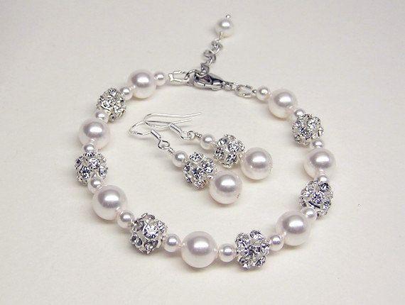 Bridesmaid Bracelet Set-Swarovski Pearl Bracelet Set-Pearl Rhinestone Bridal Bracelet-Pearl Wedding bracelet