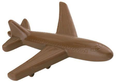 Chocolade vliegtuig in geschenkverpakking