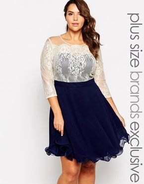 Enlarge Chi Chi London Plus Sweetheart Neckline Lace Prom Dress With 3/4 Sleeves