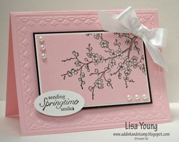 <3Cherries Blossoms, Blossoms Branches, Layout Pink, Easter Blossoms Pink And Whit, Stampin Up, Black Together, Blossoms Cards, Pink Cards, Pink Black