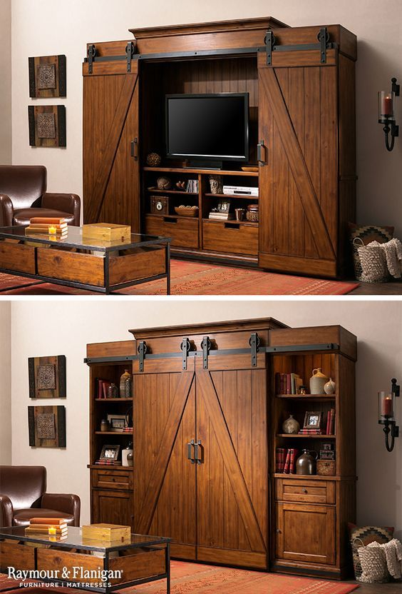 If you're a lover of all things rustic, you'll love this entertainment center. The barn-type doors open and close to hide the TV and it's …
