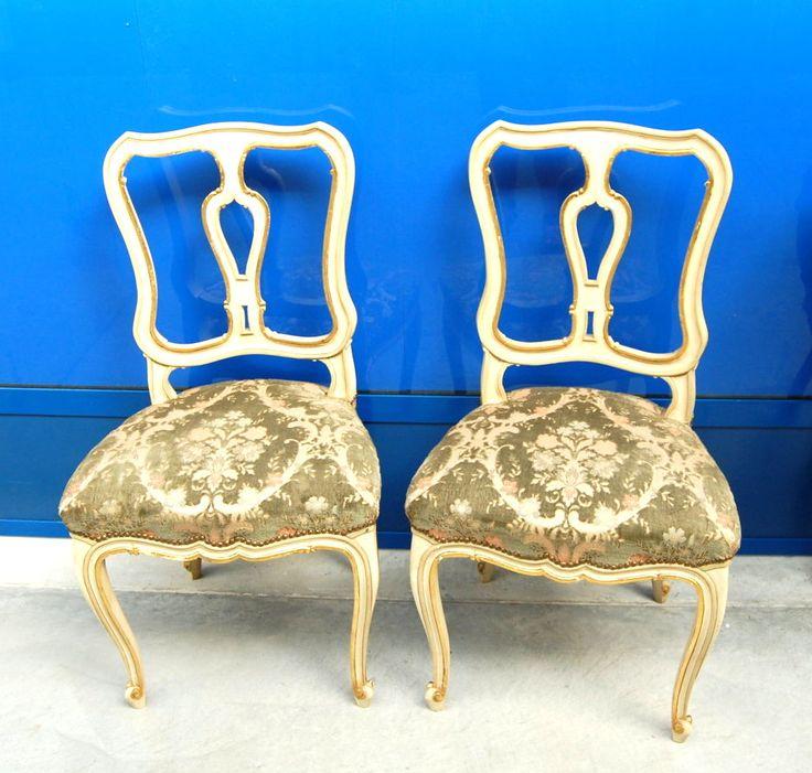 Coppia di sedie barocchette '900 piemontesi imbottite laccate e dorate
